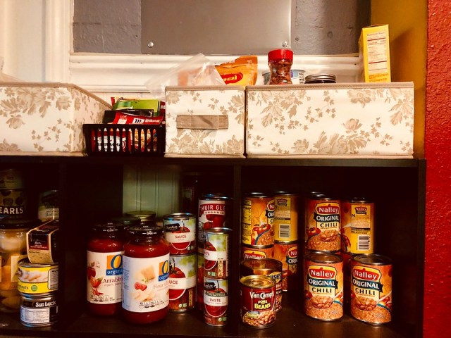Our pantry shelf with lots of chili
