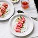 roasted rhubarb with yogurt, mint, pistachio