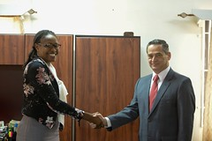 Minister of Public Service, Hon. Tabitha Sarabo-Halley welcomes Chilean Ambassador to Guyana, HE Patricio Marshall.