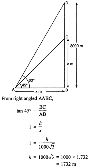 RBSE Solutions for Class 10 Maths Chapter 8 Height and Distance 3Q.1