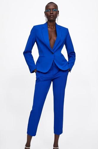 Traje chaqueta azul Zara