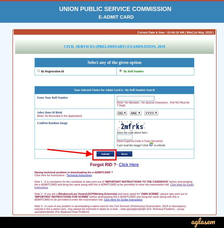 UPSC IFS Admit Card 2019 - Login by Roll Number