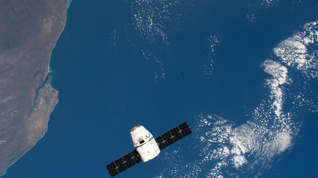 The SpaceX Dragon above the coast of Mozambique