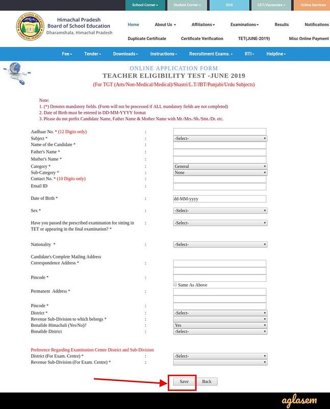 HP TET Application Form 2019