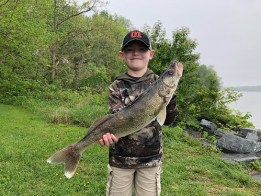 Photo of boy with a large walleye