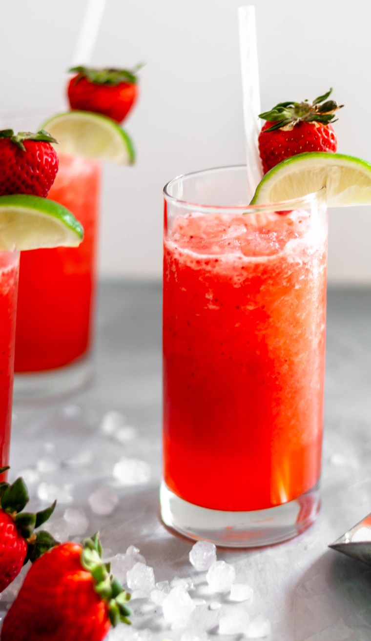 Skip the drive thru and make a Copycat Sonic Strawberry Limeade. Simple to make and tastes like the real deal. So refreshing for summer.