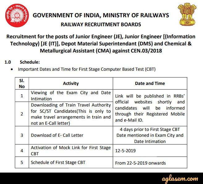RRB JE 2019 Exam Date