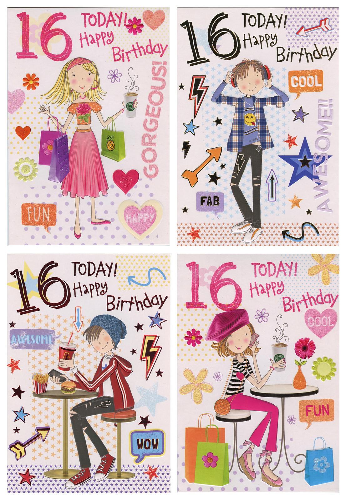 Cute Boy Girl 16 Today Birthday Card 1stp P 16th Birthday Card