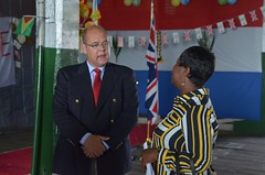 Hydrographic Programme Manager within the United Kingdom Hydrographic Office (UKHO), Ian Davies speaks with Director-General of the Maritime Administration Department within the Ministry of Public Infrastructure, Claudette Rogers.