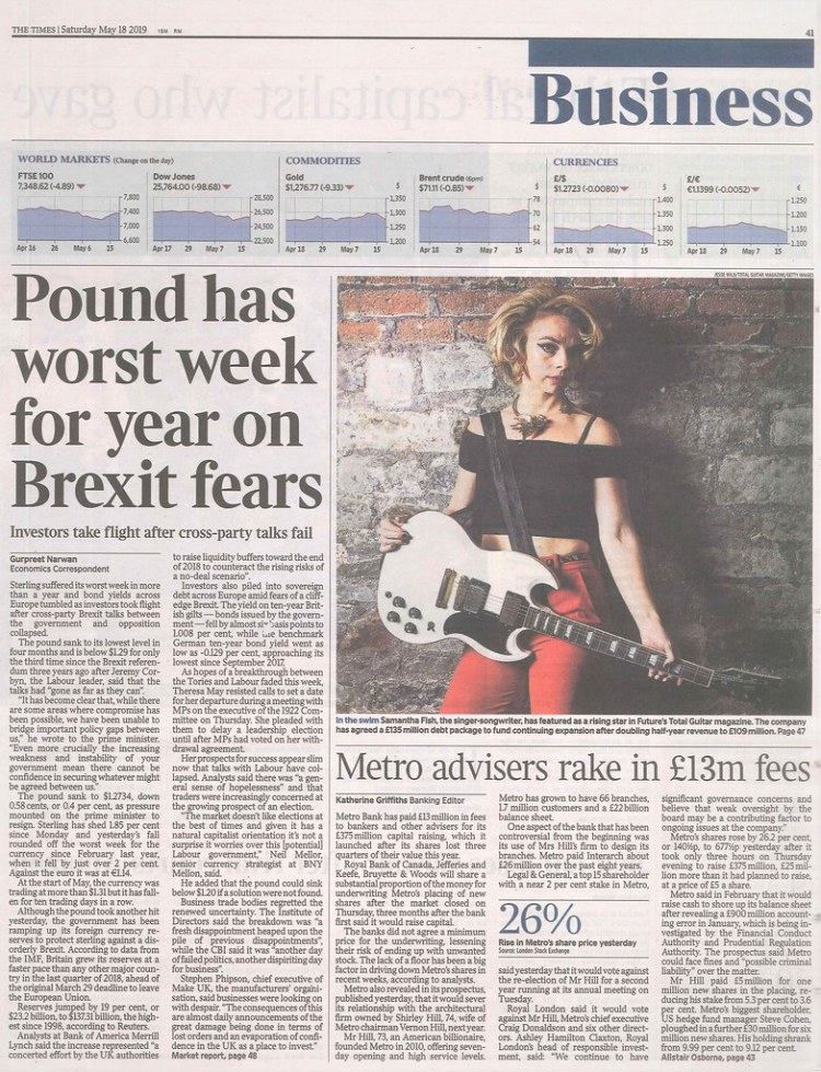 Samantha Fish was featured in the Times newspaper on Saturday 18th May 2019