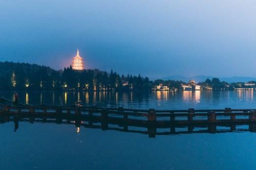 Leifeng Pagoda in the evening glow, West Lake (西湖), Hangzhou