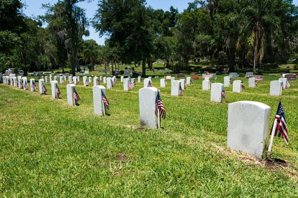 Flags mark the headstones of US Veterans for Memorial Day 2019