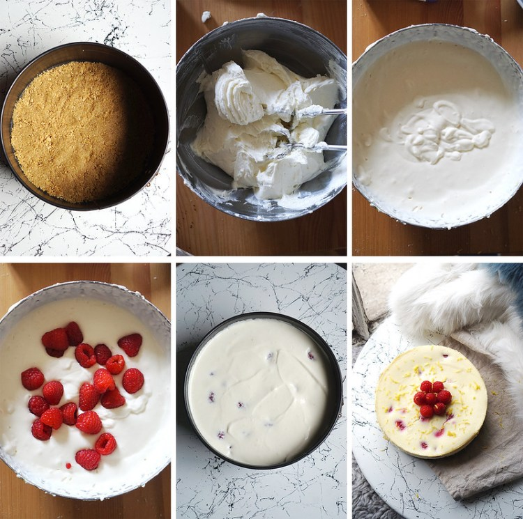 How to make gluten free lemon, rose and raspberry cheesecake / step by step tutorial