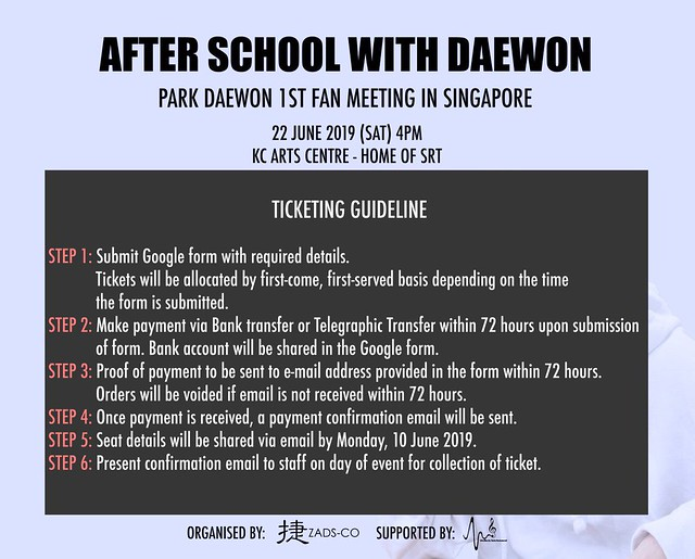 Park Daewon in Singapore Ticketing Details