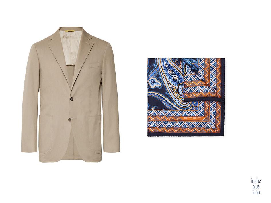 Look hombre smart-casual con blazer beige y pañuelo de bolsillo