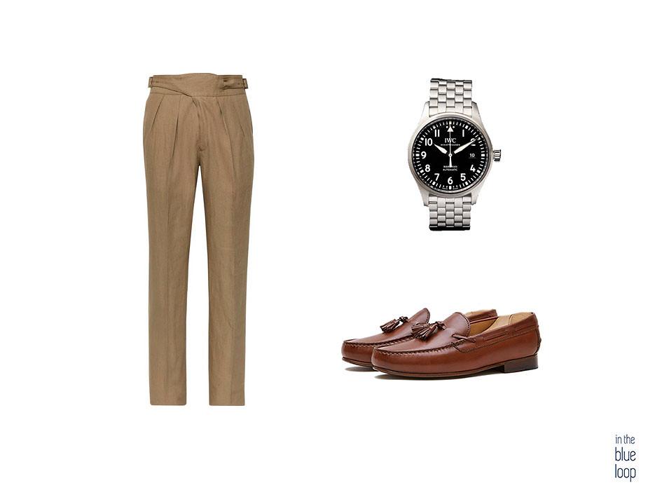 La lista de los pantalones del verano con look smart-casual con pantalones de pinza de hombre con reloj de metal y mocasines o loafer en piel marrón
