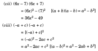 NCERT Solutions for Class 8 Maths Algebraic Expressions and Identities Ex 9.5 Q1.2