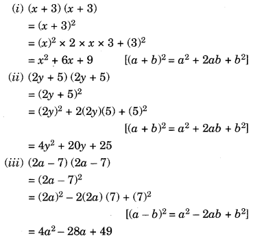 NCERT Solutions for Class 8 Maths Algebraic Expressions and Identities Ex 9.5 Q1