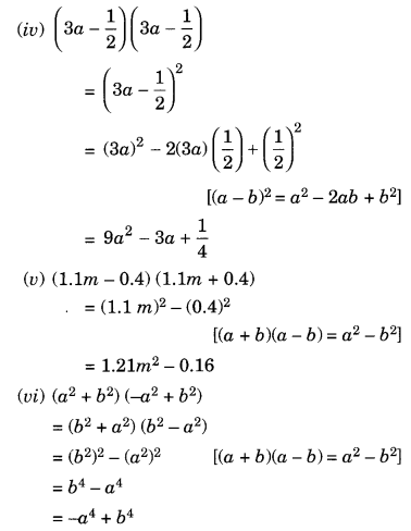 NCERT Solutions for Class 8 Maths Algebraic Expressions and Identities Ex 9.5 Q1.1