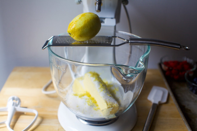 zest lemon into sugar and butter