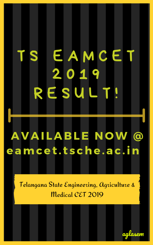 TS EAMCET 2019 Result Released at eamcet.tsche.ac.in