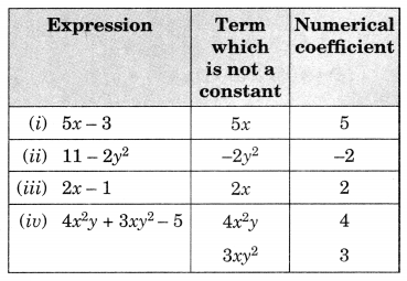 Algebraic Expressions Class 7 Extra Questions Maths Chapter 12 Q1