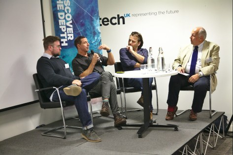 "SES Ultra HD Conference, TechUK 13 June 2019 - Panel: ""The 4K Post-Production Scene"" - Peter Collins, The Farm Group, Aidan Farrell, Senior Colourist, The Farm Group, London, David ""Klaf"" Klafkowski, CEO, The Farm Group, Chris Forrester, conference chairman, journalist and industry consultant"