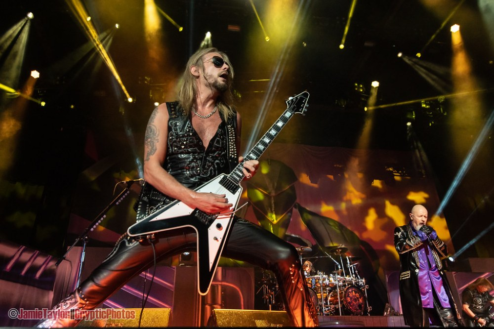 Singer Rob Halford and guitarist Richie Faulkner of Judas Priest performing at Abbotsford Centre in Abbotsford, BC on June 17th, 2019