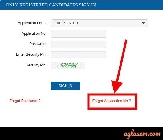 EVETS Forgot Application Number