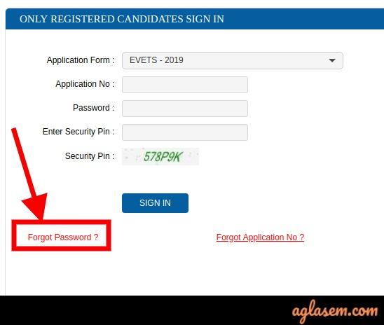 EVETS Forgot Password