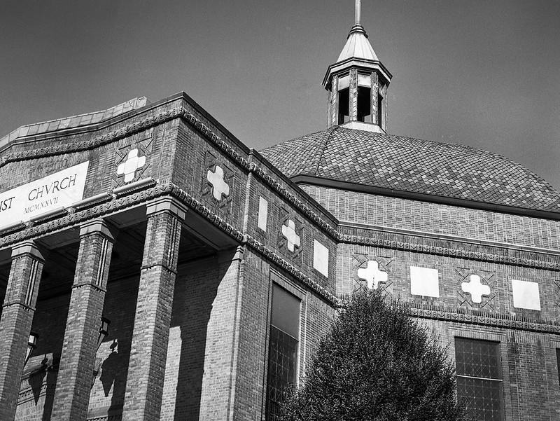 exterior facade, dome, columns, steeple, First Baptist Church, Asheville, NC, Mamiya 645 Pro, mamiya sekor 45mm f-2.8, HC-110 developer, 6.18.19