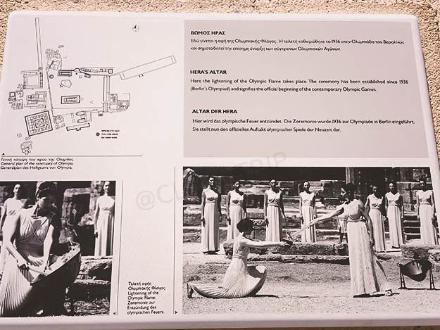 Panel informativo en el Altar de Hera | Origen llama olímpica | Olimpia | Grecia continental