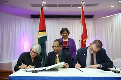 (From Left) Deputy Auditor General, Office of the Auditor General of British Columbia, Sheila Dodds, Auditor General of Guyana Deodat Sharma, Canadian High Commissioner to Guyana, HE Lilian Chatterjee (standing), and CAAF Program Officer Marc Belanger.