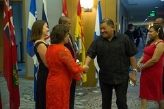 Canadian High Commissioner to Guyana, HE Lilian Chatterjee greets Minister of Indigenous Peoples' Affairs, Hon. Sydney Allicock.