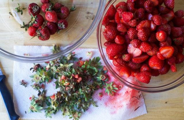prepping strawberries