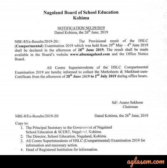 NBSE HSLC Compartmental Result 2019