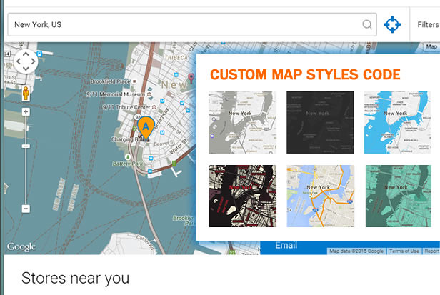 Custom Map Styling Store Locator using Snazzymaps