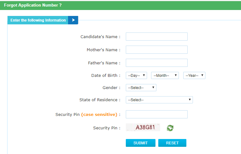 UGC NET 2021 Forgot Password Application Number