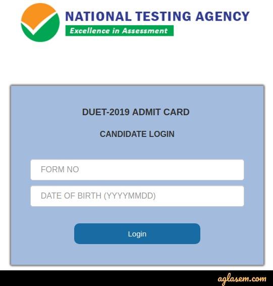 DUET 2019 Admit Card
