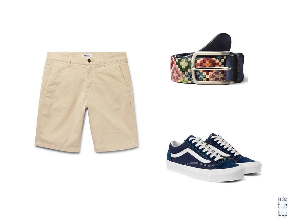 Look casual de hombre de las 5 maneras de llevar unos pantalones cortos este verano con pantalones cortos, sneakers de vans y cinturón tauce de blue hole en azul