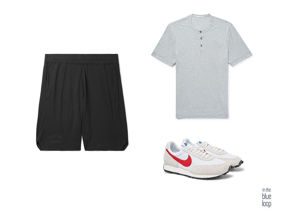 look deportivo con pantalones cortos o shorts, sneakers de nike y camiseta de hombre