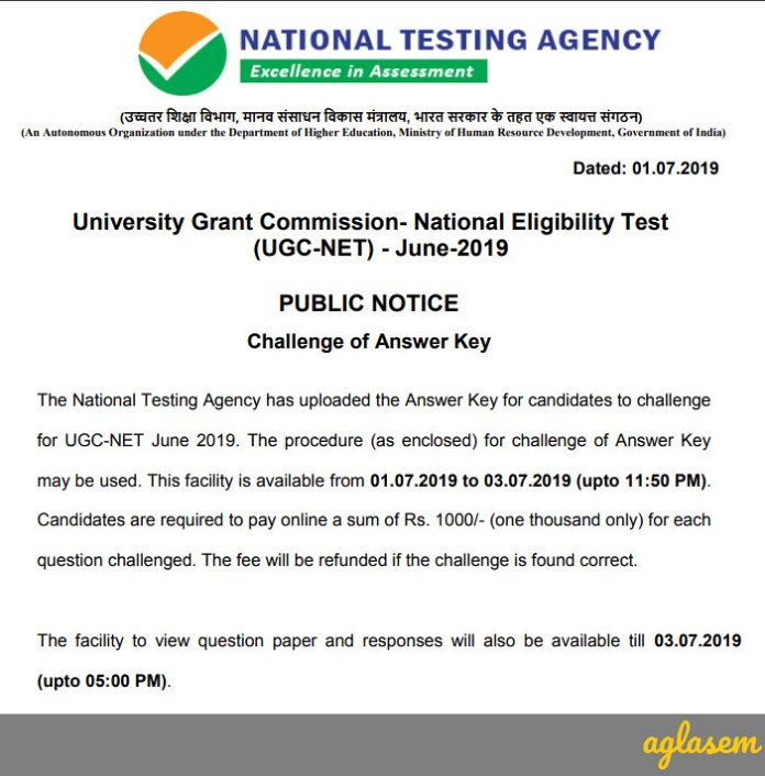 UGC NET Answer Key 2019 Notice