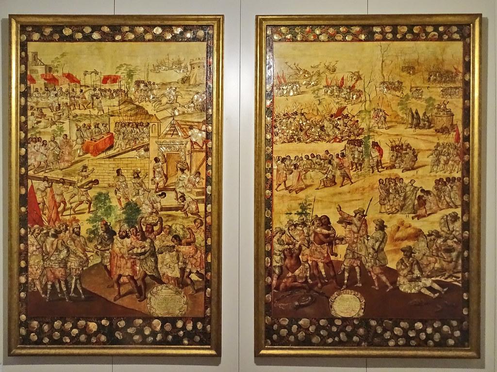 pintura conquista de Mexico Virreinato de Nueva España Mexico s. XVII Museo de America Madrid 01