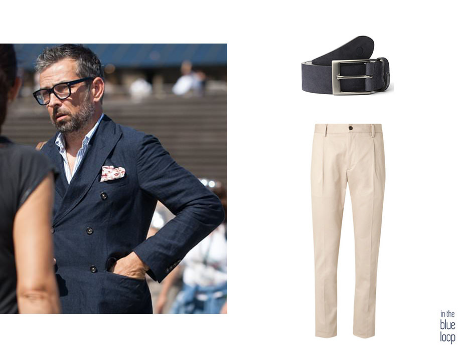 5 maneras de llevar un blazer este verano con blazer azul cruzada combinada con pantalón de vestir beige y cinturón de hombre azul Igara de blue hole