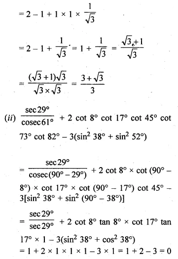 ML Aggarwal Class 10 Solutions for ICSE Maths Chapter 18 Trigonometric Identities Chapter Test Q2.1