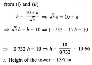 ML Aggarwal Class 10 Solutions for ICSE Maths Chapter 20 Heights and Distances Ex 20 Q37.2