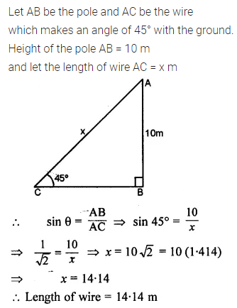 ML Aggarwal Class 10 Solutions for ICSE Maths Chapter 20 Heights and Distances Ex 20 Q9