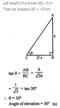 ML Aggarwal Class 10 Solutions for ICSE Maths Chapter 20 Heights and Distances MCQS Q8