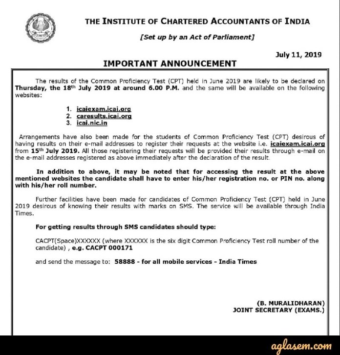 CA CPT June 2019 Result Declaration Date Announced; Know Different Ways to Check Result