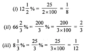 ML Aggarwal Class 7 Solutions for ICSE Maths Chapter 7 Percentage and Its Applications Check Your Progress Q1